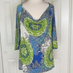 Tops - 4/$25 Draped front blouse with cut out in back